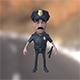 Policeman cartoon character with baton