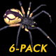 Spooky Spider - Black Yellow - Walk Cycle - Pack of 6 Views
