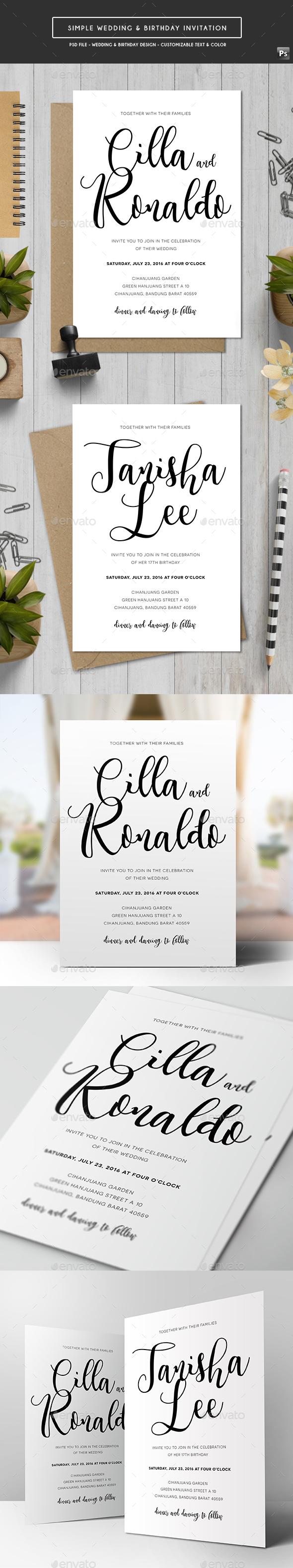 Simple Wedding & Birthday Invitation