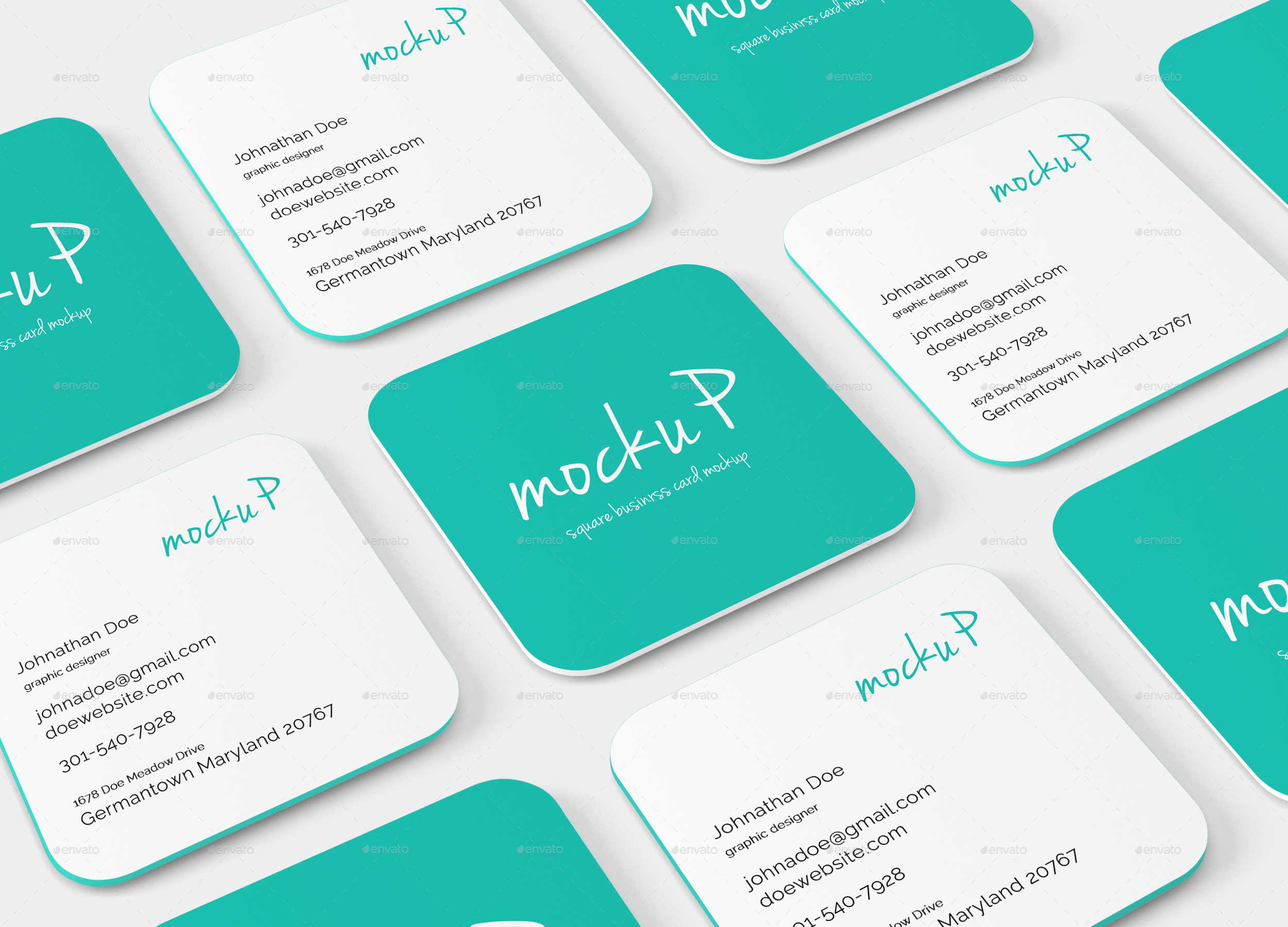 Fresh graph Square Business Card Mockup Business Cards