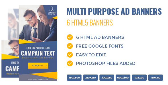 Download HTML5 Multi Purpose Banners - 6 Sizes nulled download