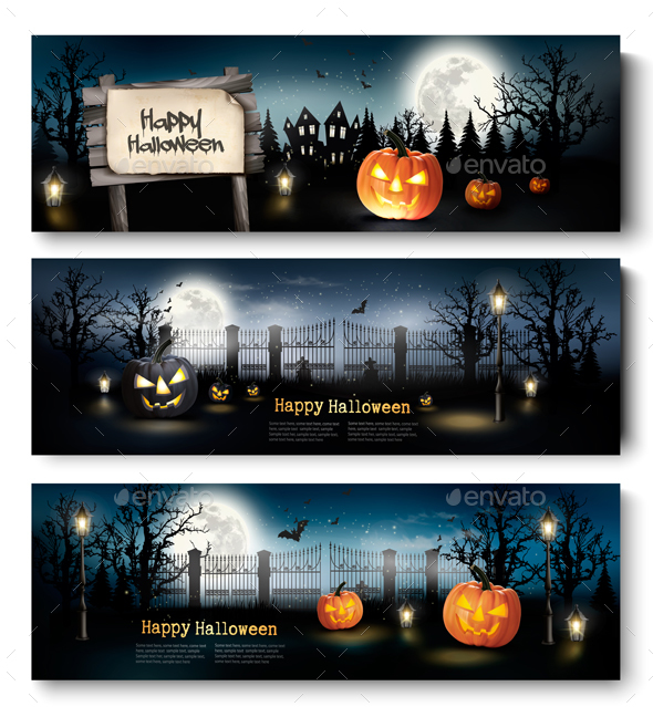 Holiday Halloween Banners With Pumpkins