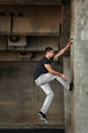 Man of parkour in urban space.
