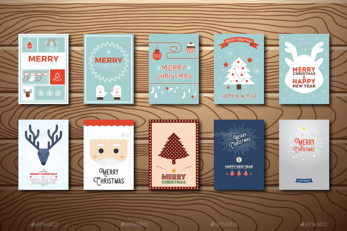 20 Christmas greeting cards in vintage and minimal style
