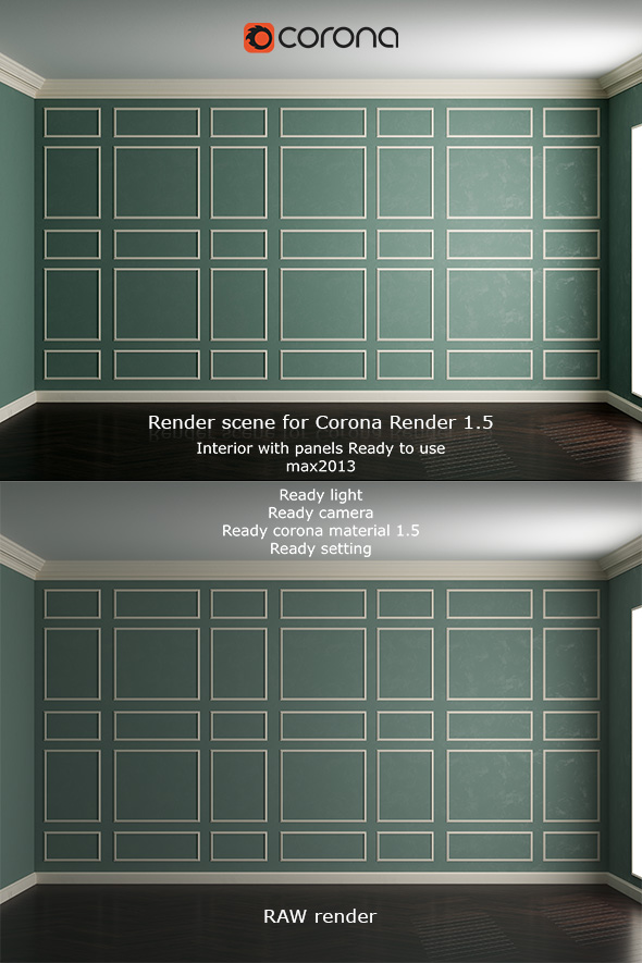 3DOcean Interior with panels Corona render 1.5 18525316