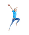 Young Girl with Blond Hair Jumping in the Air