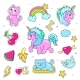 Patch Badges With Hearts, Unicorn, Clouds, Cats