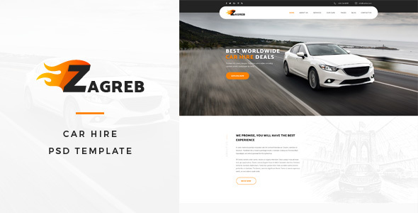 Zagreb : Car Hire PSD Template