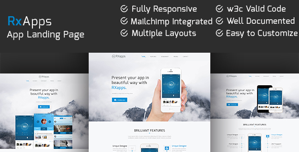 RxApps - Responsive App Landing Page