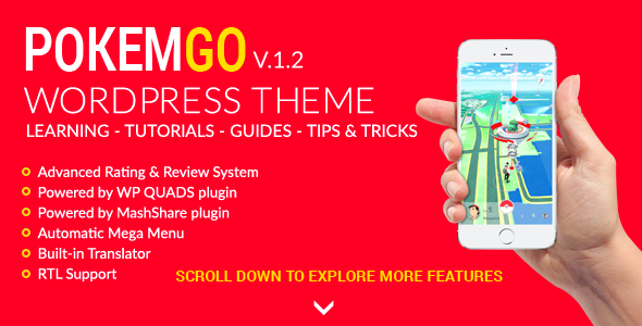 Download Pokemgo - WordPress Theme for tutorials, learning, guides, tips and tricks