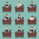 Businessman Character Work Office Desktop Set