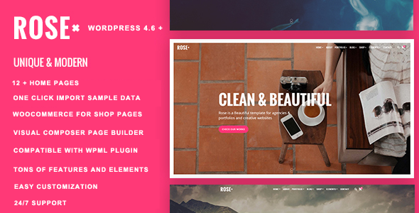 Rose – Responsive Multi-Objective WordPress Theme (Inventive)
