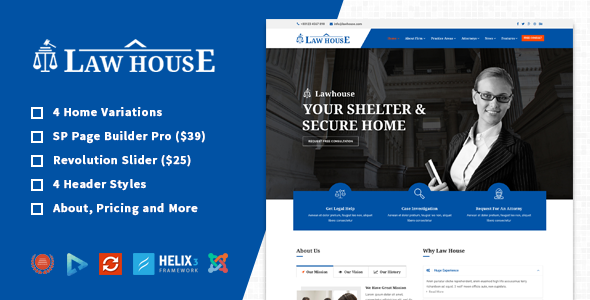 LawHouse - Responsive Lawyers Attorneys Joomla Template