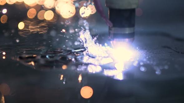 VideoHive Plasma Laser Cutting Metal Sheet With Sparks 18541866