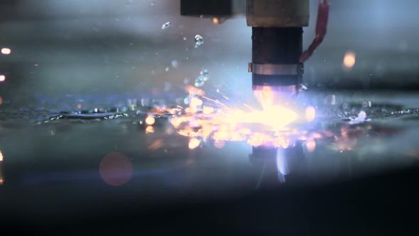 VideoHive Plasma Laser Cutting Metal Sheet With Sparks 18541884