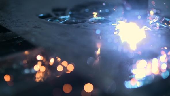 VideoHive Plasma Laser Cutting Metal Sheet With Sparks 18541892