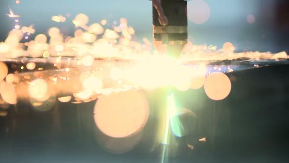 VideoHive Plasma Laser Cutting Metal Sheet With Sparks 18541902