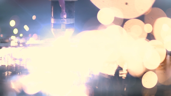 VideoHive Plasma Laser Cutting Metal Sheet With Sparks 18541907