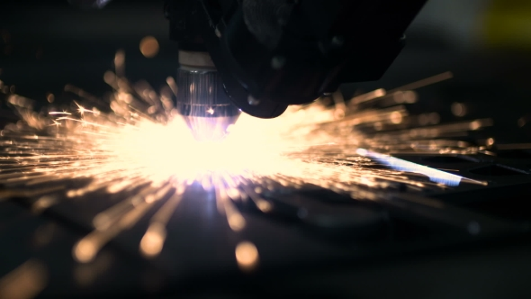 VideoHive Plasma Laser Cutting Metal Sheet With Sparks 18541938