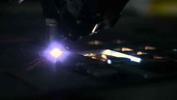 VideoHive Plasma Laser Cutting Metal Sheet With Sparks 18541947
