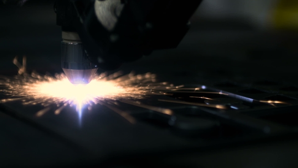 VideoHive Plasma Laser Cutting Metal Sheet With Sparks 18541959