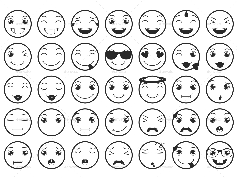 Line Emoticons / Emoji Vector Set by land-art | GraphicRiver