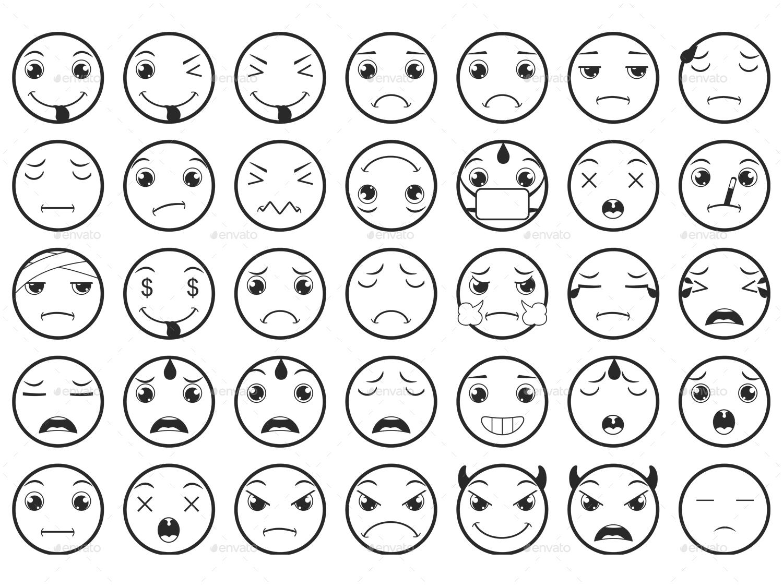 Line Drawing Emoji : Line emoticons emoji vector set by land art graphicriver