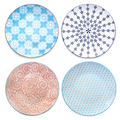 Collection of Empty Colorful Plates Top View Isolated