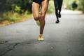 leader of marathon young athlete runner