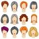 Womens Cartoon Hair Vector Hairstyles Collection
