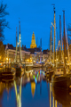 Sailing ships and masts at the Hoge der Aa quay Groningen