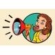 Comic Woman Agitator Shouts Into a Megaphone