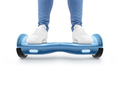 Man stand on blue hyro scooter isolated