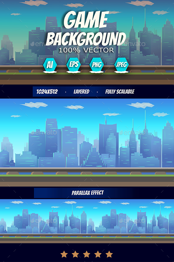 Railway 2d Game Landscape With City Houses (Backgrounds)