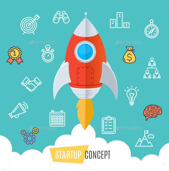 Start Up Motivation Concept Flat