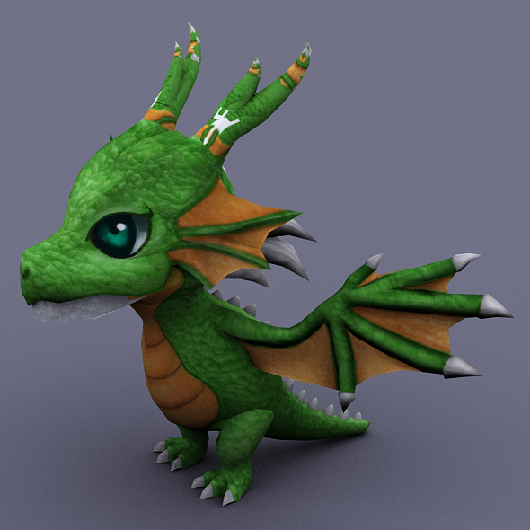 funny dragon green - 3DOcean Item for Sale