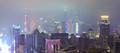 Aerial photography at City modern landmark buildings of night