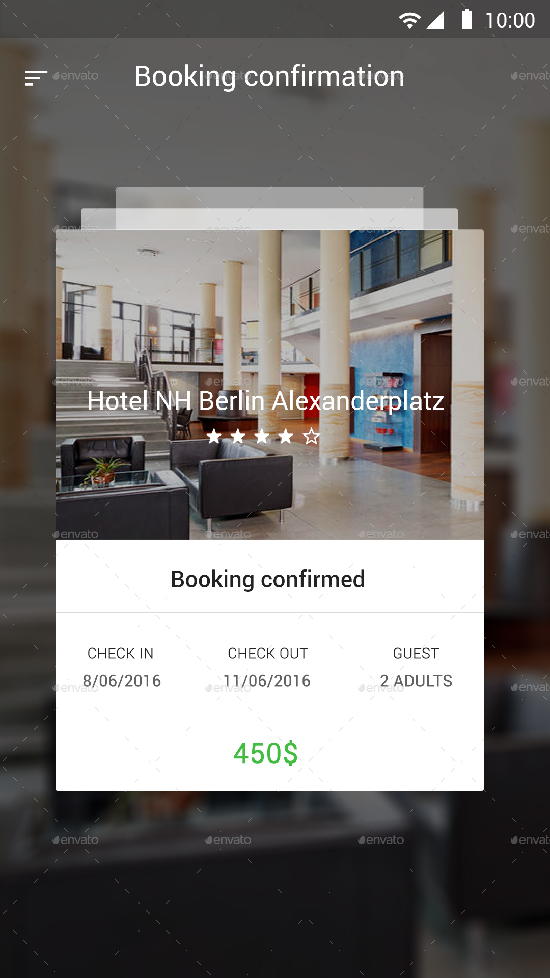 Hotel booking material design ui by design grapahma for Hotel reservation design