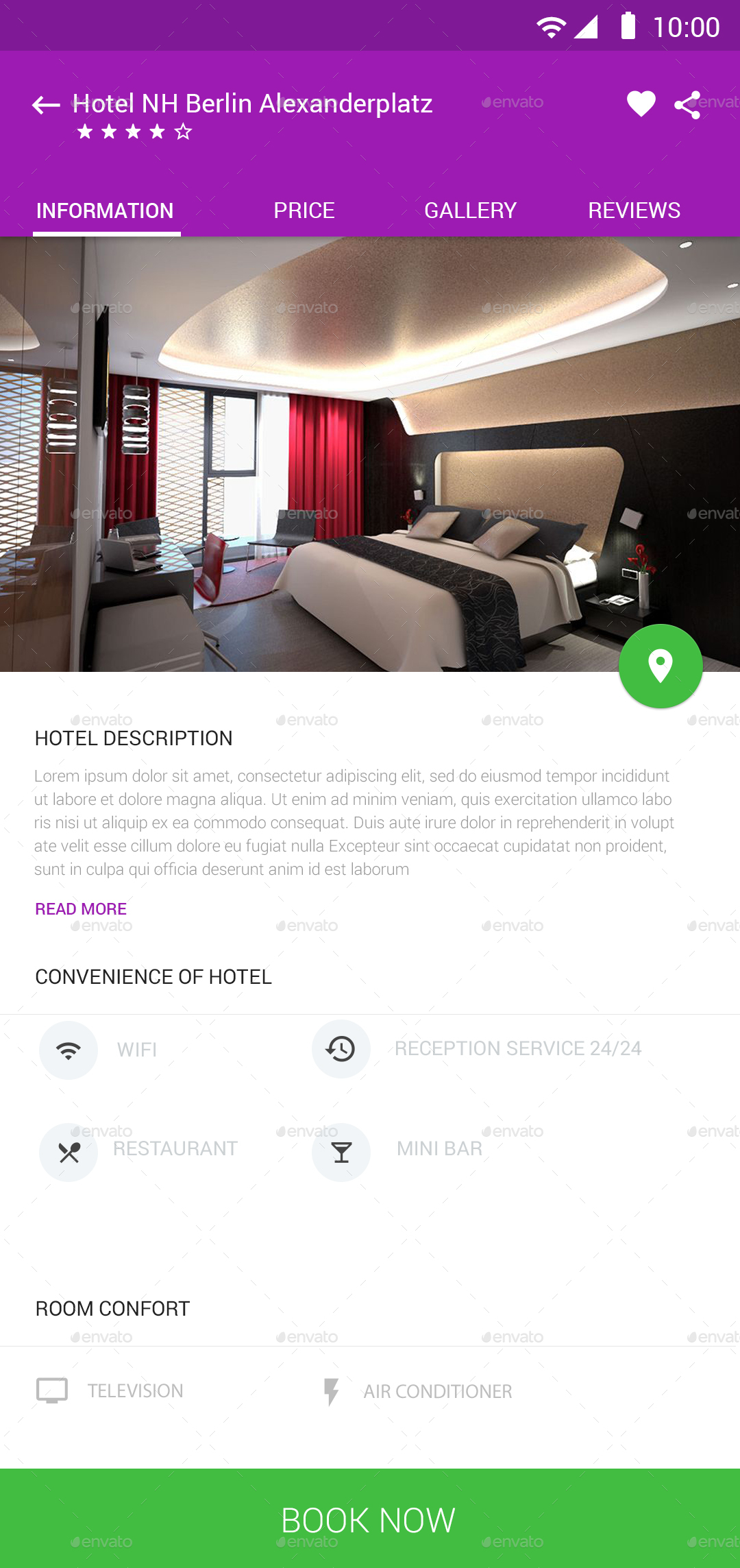 Hotel booking material ui by design grapahma graphicriver for E booking hotel