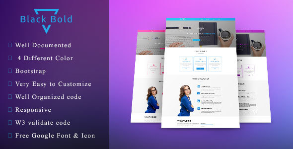 Black Bold - One page HTML template