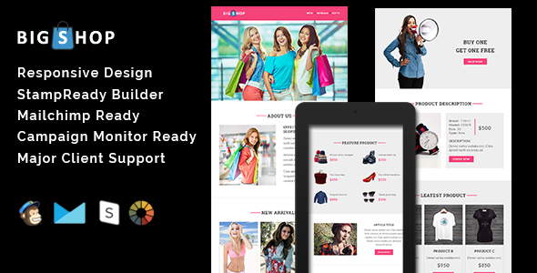 Download BIGSHOP - Responsive Email Template + Stamp Ready Builder nulled download