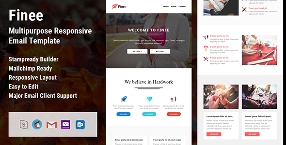 Finee - Multipurpose Responsive Email Template + Stampready Builder