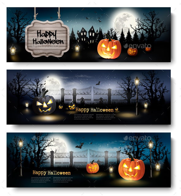 Three Holiday Halloween Banners with Pumpkins