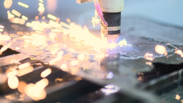 VideoHive Laser Cutter Cuts Metal Parts 18566468