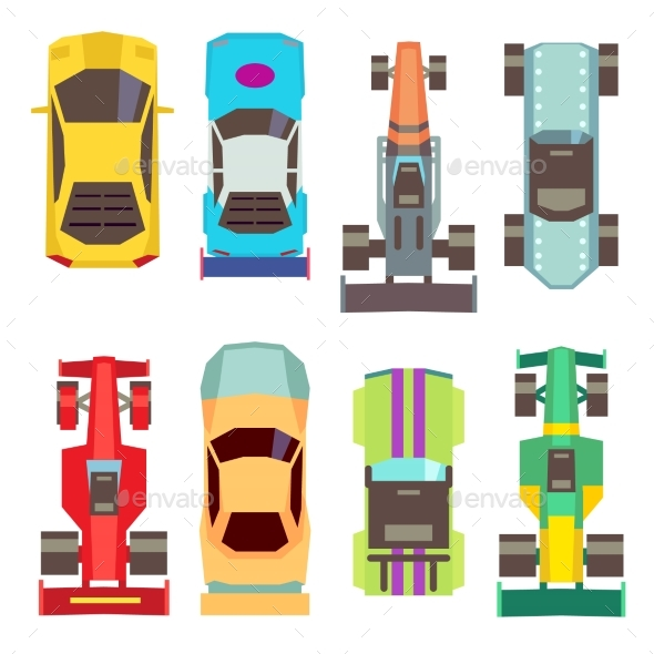 Sport Race Cars Top View Flat Vector Icons