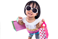 Funny Asian Chinese Little Girl Holding Shopping Bags