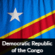 Ruffled Flag of Democratic Republic of the Congo
