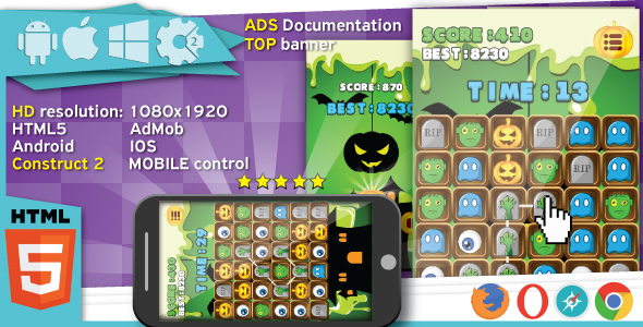 Download Halloween Match3 game - Construct2 (.capx) + cocoon ADS