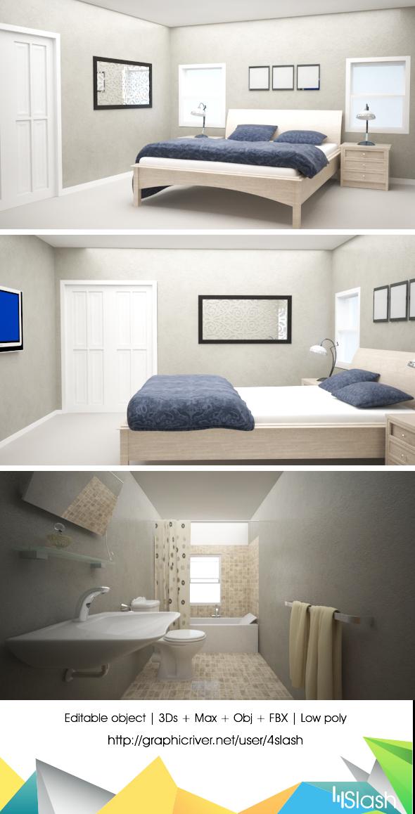 3d Full Home Interior - 3DOcean Item for Sale