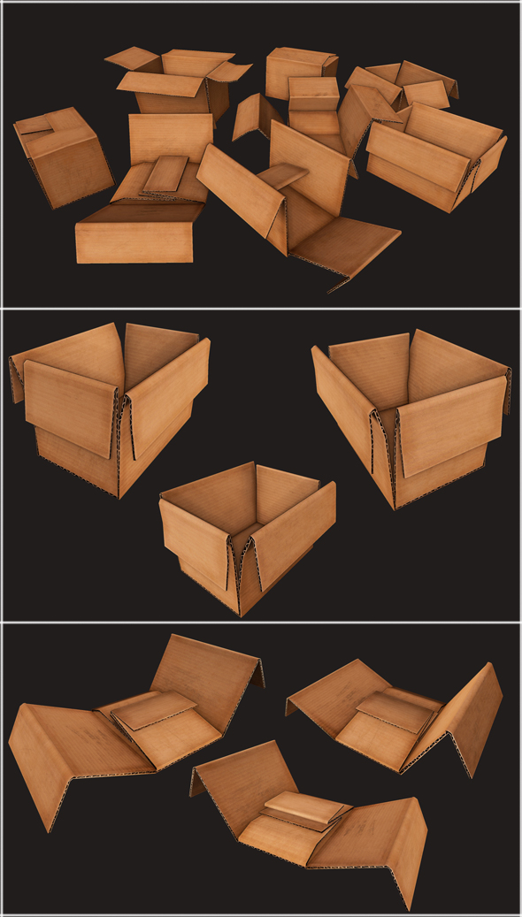Cardboard boxes Debris - 3DOcean Item for Sale